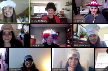The S&D Marketing Team sports hats on their weekly check-in call.
