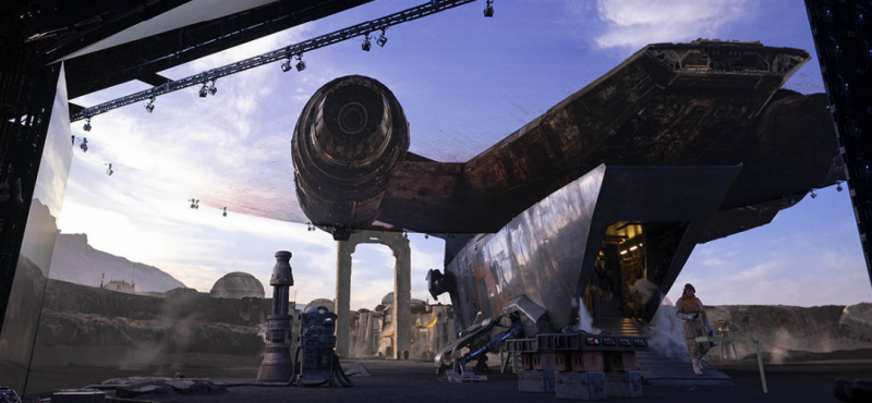A scene from the set of Disney's The Mandalorian.