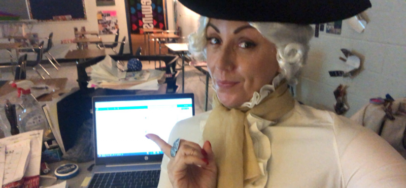 A teacher dresses up for a remote lesson during the COVID-19 pandemic.