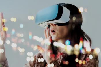 Woman wearing a VR headset.
