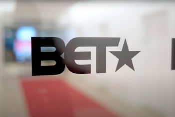 A photograph of BET's logo on the doors of the TV network's New York City office.